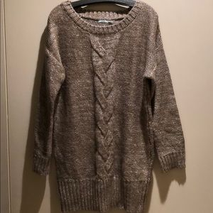 Urban Outfitters Tan and Silver Long Sweater